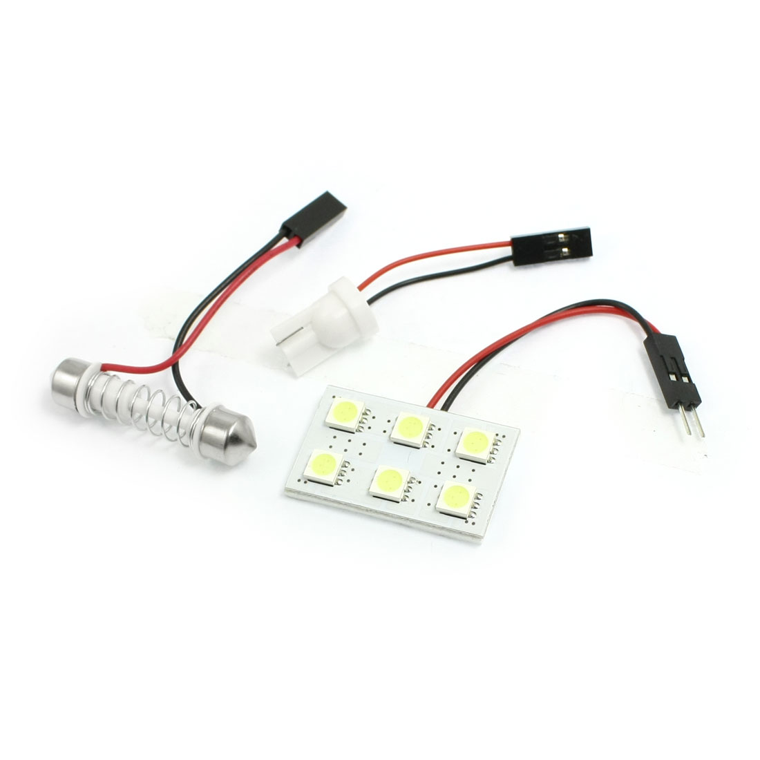 Car Auto White 5050 SMD 6-LED Light Dome Lamp w T10 Festoon Adapter
