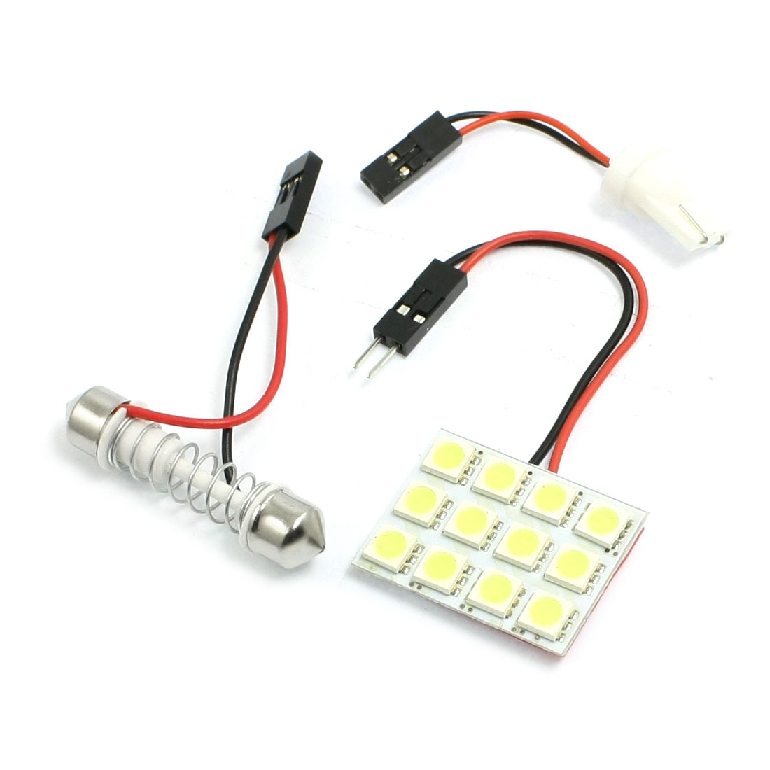Car Auto White 5050 SMD 12-LED Light Dome Lamp w T10 Festoon Adapter