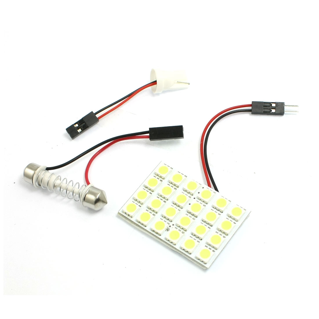 Car Auto White 5050 SMD 24-LED Light Dome Lamp w T10 Festoon Adapter