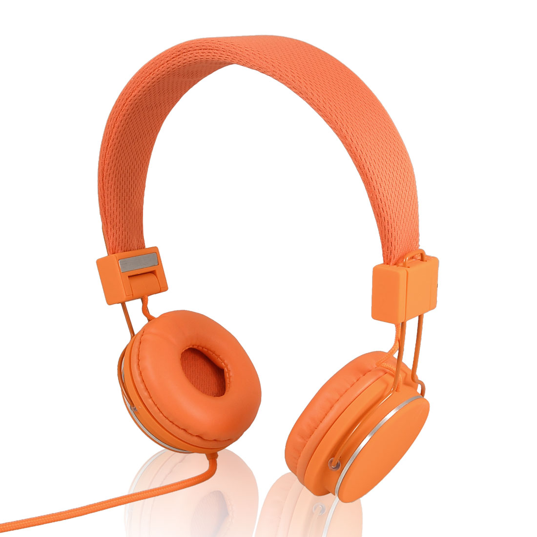 PC Laptop Orange Wired Foldable Stereo 3.5mm Headphone Headset with Mic