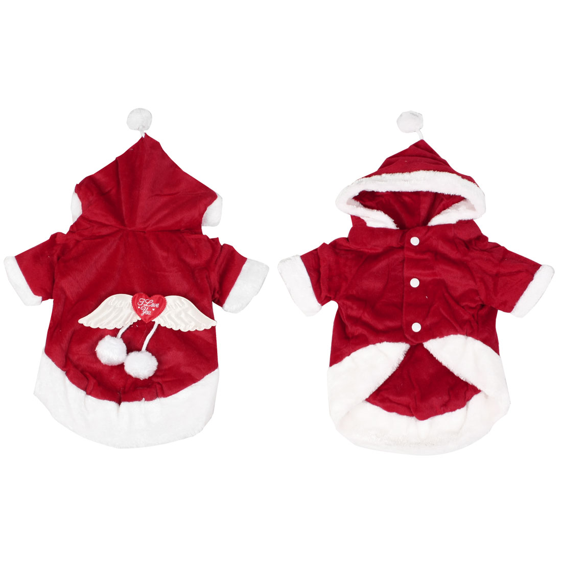 Christmas Winter Plush Hooded Dog Clothes Coat Puppy Clothing S