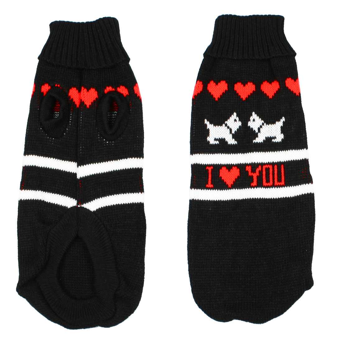 Turtleneck Heart Print Hand Knit Dog Sweater Clothing Coat Doggie Apparel S
