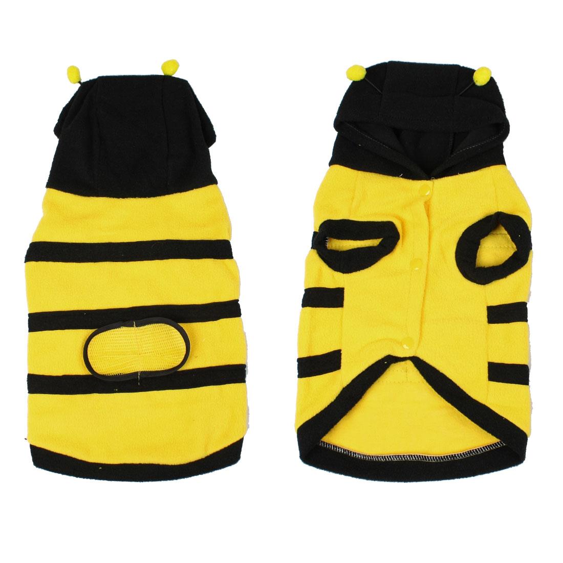 Xmas Costume Yellow Black Fleece Bee Design Hooded Dog Coat Pet Clothes L