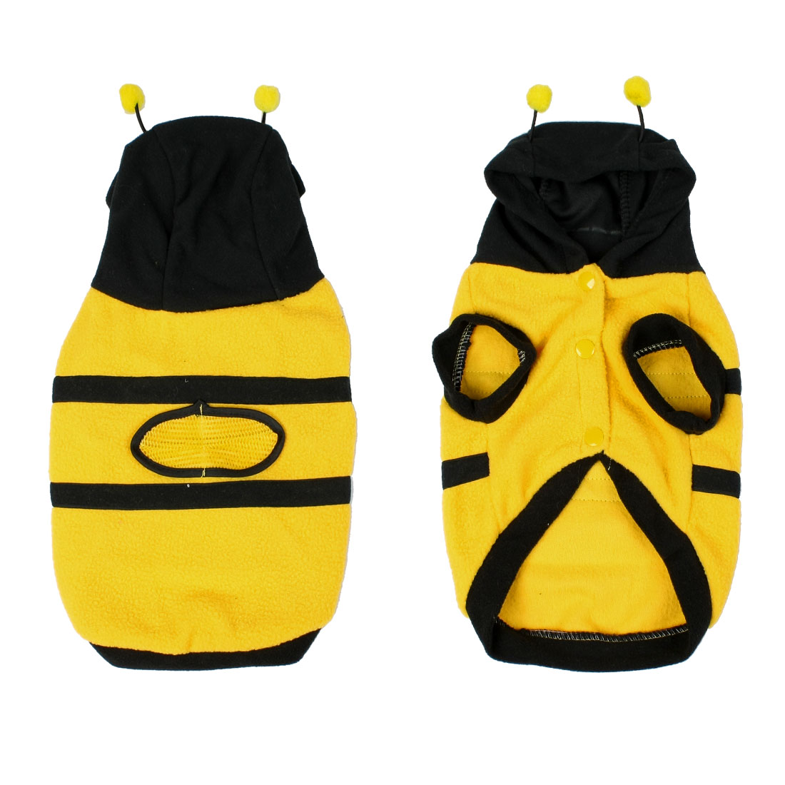 Xmas Yellow Black Fleece Bee Design Hooded Poodle Dog Coat Pet Clothes XL