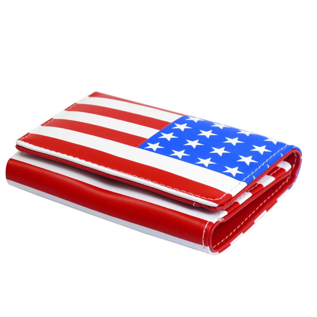 American Flag Pattern Magnetic Flap Closure Tri-fold Purse Wallet for Women