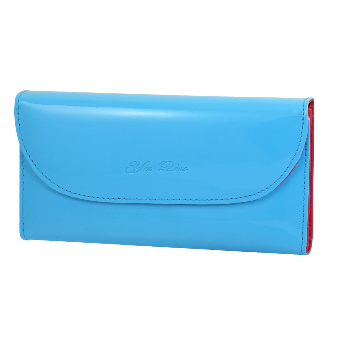 Women Nylon Lining 5 Compartment Horizontal Wallet Purse Blue Red