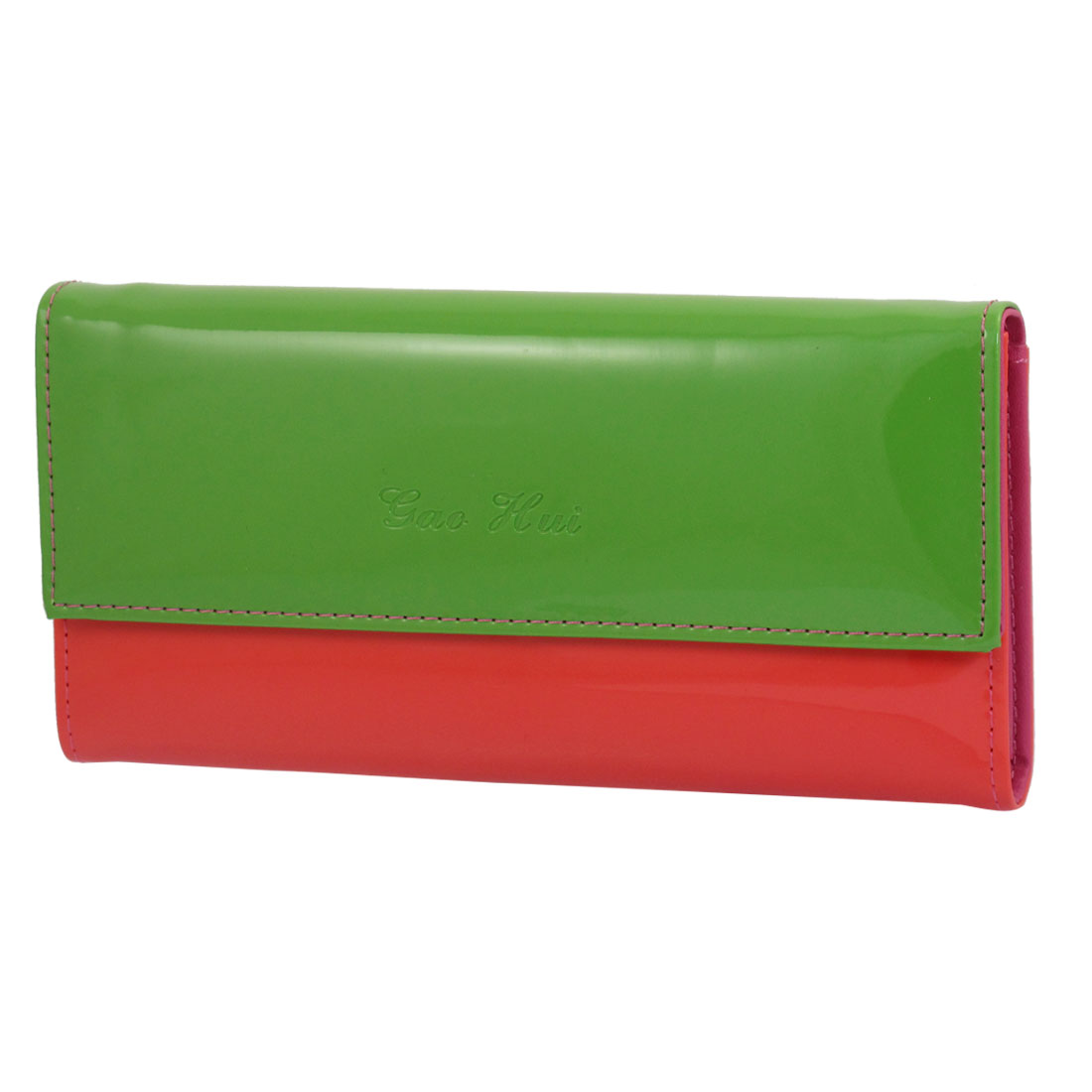 Ladies Watermelon Red Green Faux Leather Horizontal Press Stud Closure Wallet