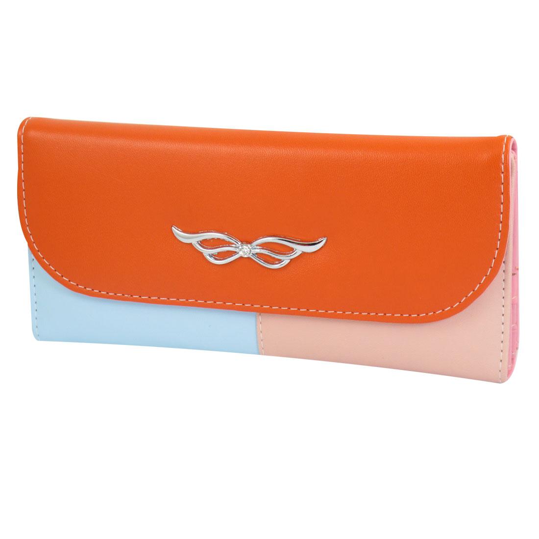 Ladies Tri-Color Faux Leather Horizontal Press Stud Closure Wallet