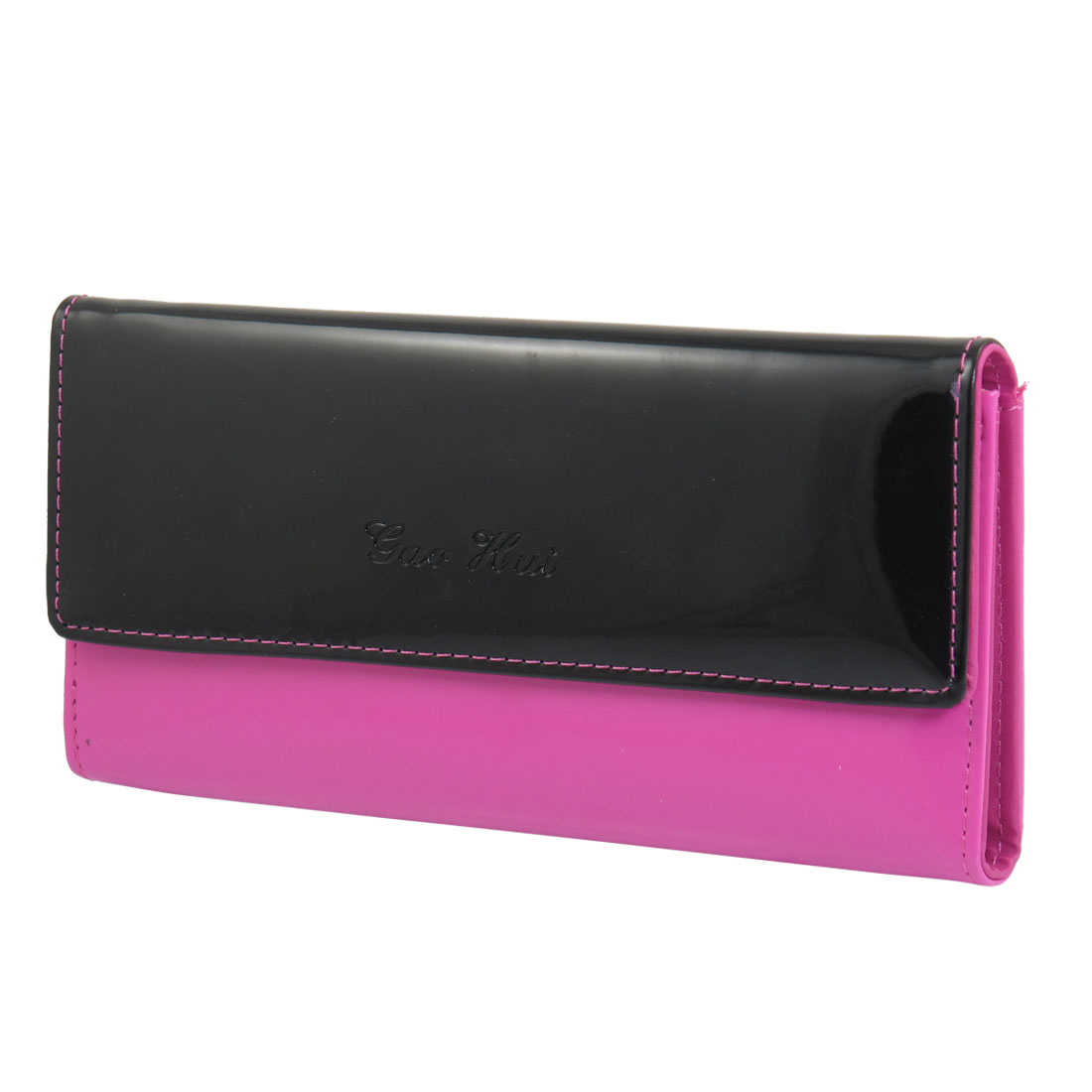 Ladies Black Fuchsia Faux Leather Press Stud Closure Rectangle Wallet Purse