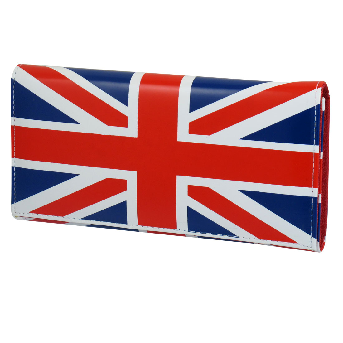 Ladies Faux Leather England Flag Pattern Magnetic Flip Closure Wallet Purse