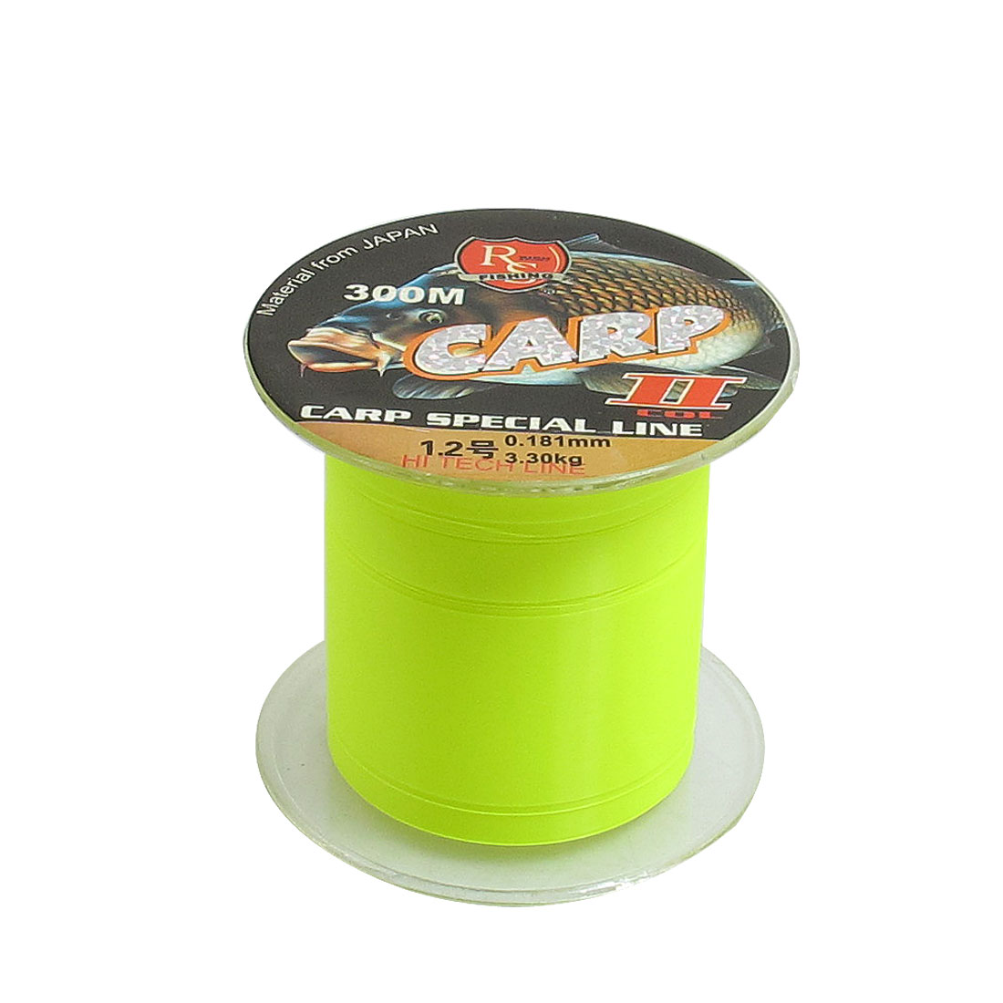 0.181mm Diameter 3.3Kg Yellow Green Fishing Spool Line 300m