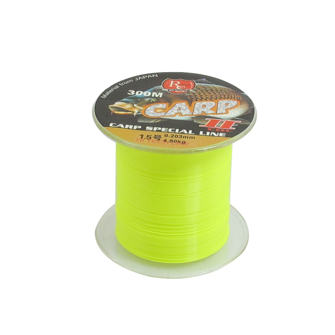 4.8Kg 10.6lb 0.203mm Dia 300m Yellow Green Nylon Fishing Spool Line String