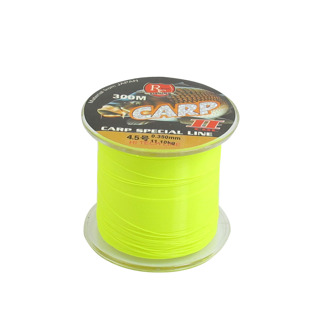 0.350mm Diameter 11.1Kg Yellow Green Nylon Freshwater Fishing Spool Line 300M