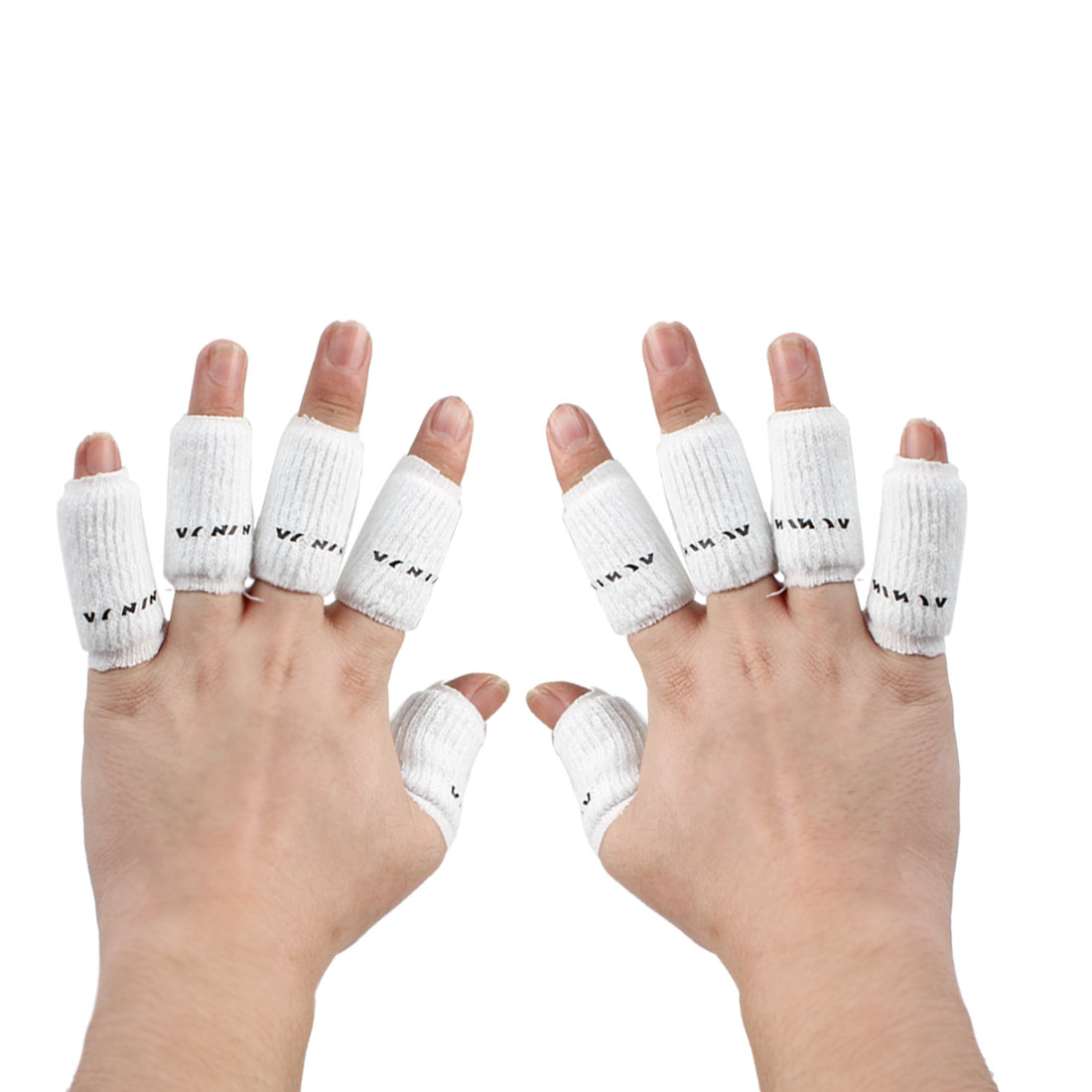 Sports Basketball Volleyball Stretchy Finger Sleeves Cover Wrap White 10 Pcs