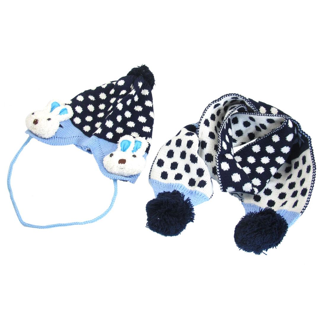 Boy Girl Dots Printed Rabbit Head Decor Earflap Knitting Hat Scraf Navy Blue
