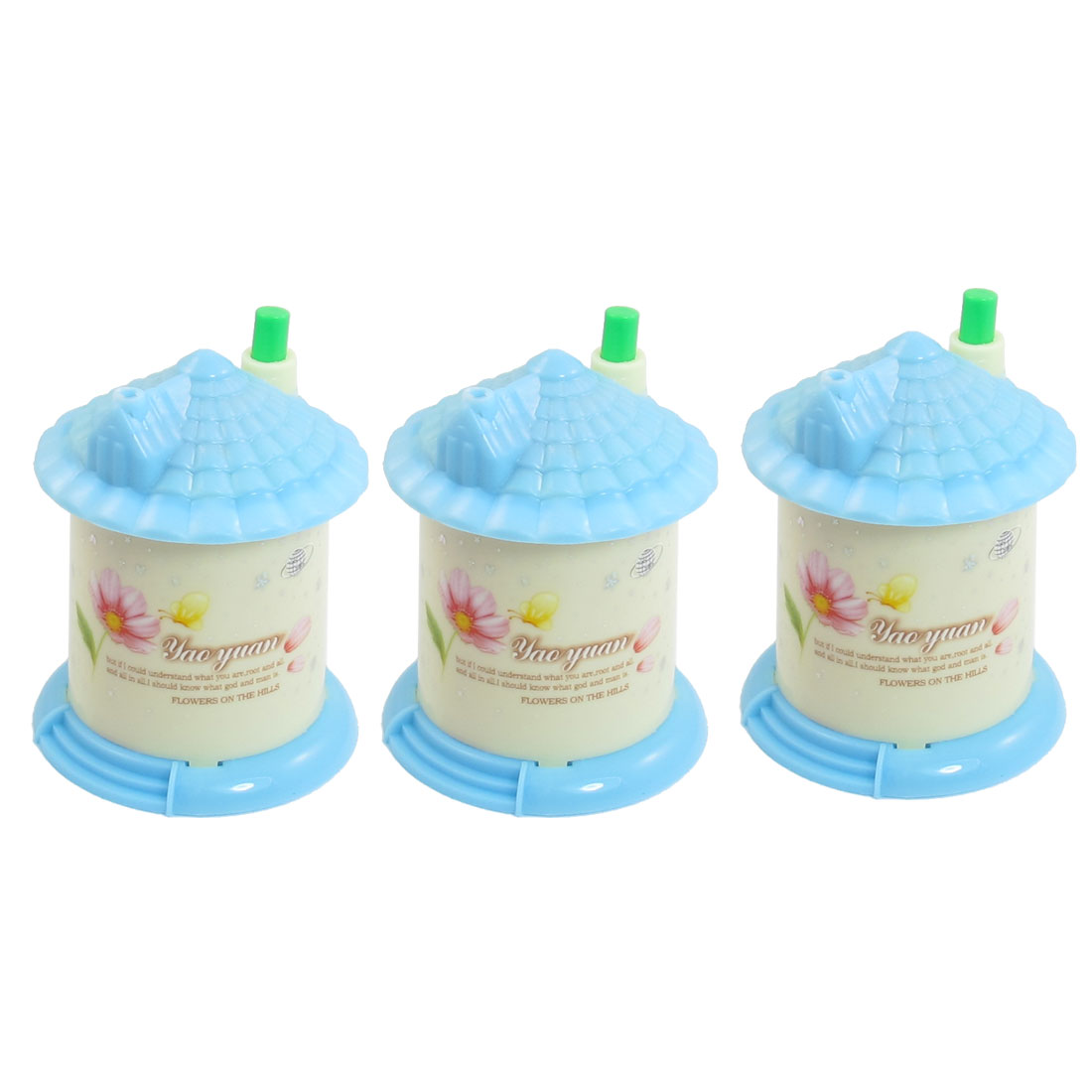 3Pcs Flower Pattern Plastic Housing Automatic Toothpick Holder Blue Beige