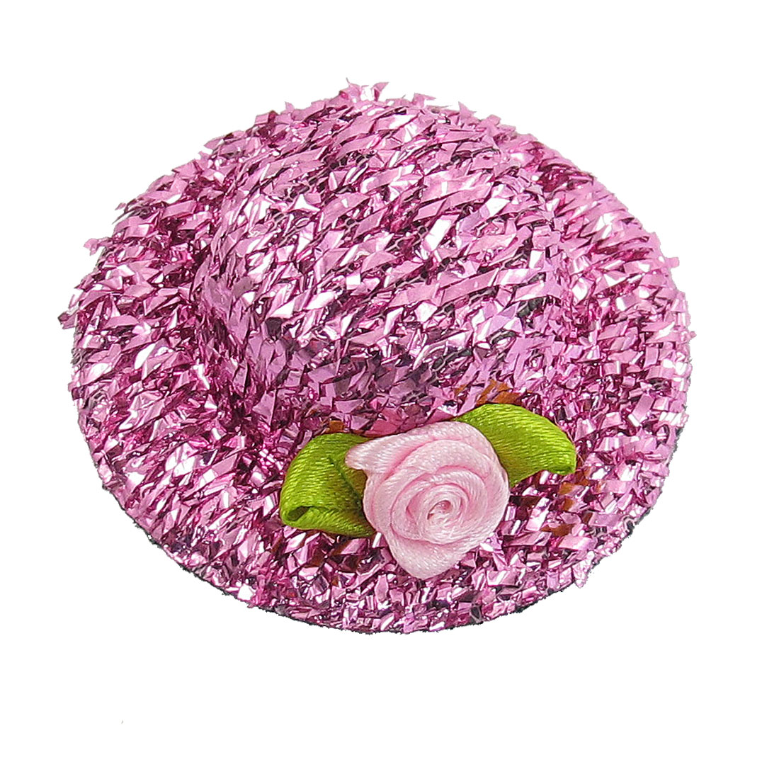 Pink Shiny Tinsel Coated Flannel Hat Shaped Hair Clip for Girl