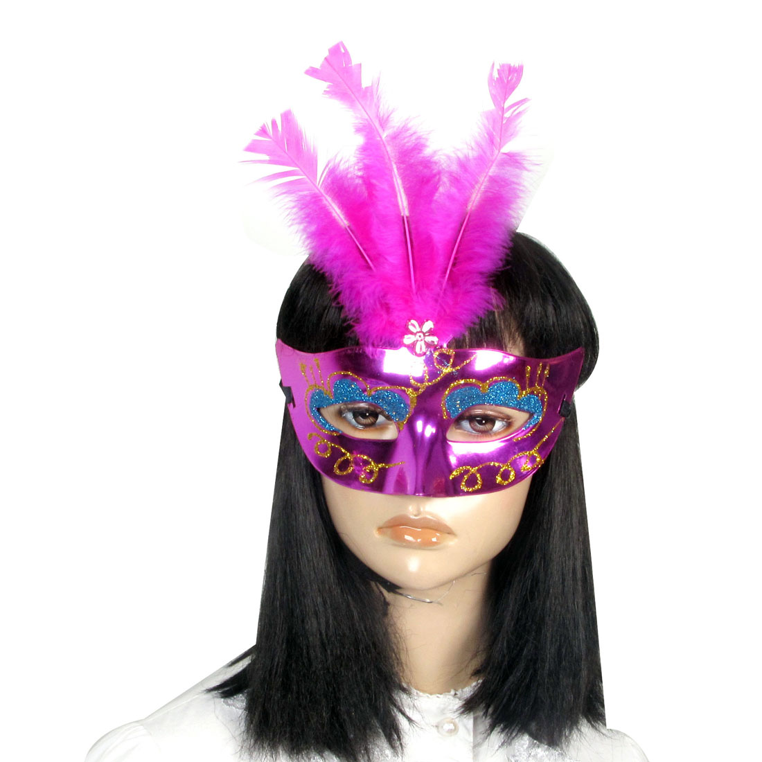 Lady Woman Masquerade Party Fuchsia Faux Feather Plastic Crystal Decor Eye Mask