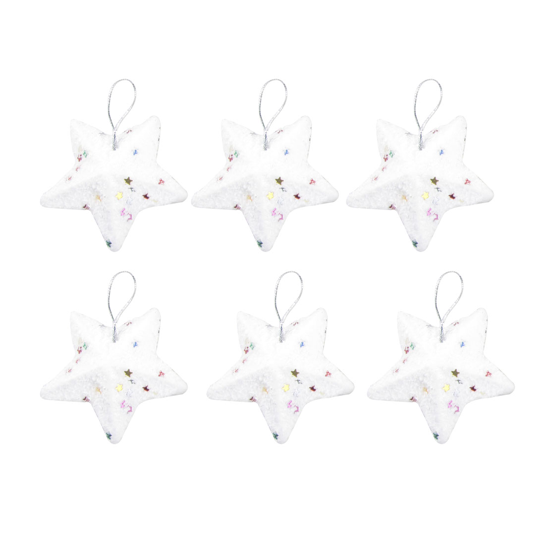 Festival Christmas Tree Glittery Star Pendant Hanging Ornament Decoration 6 Pcs
