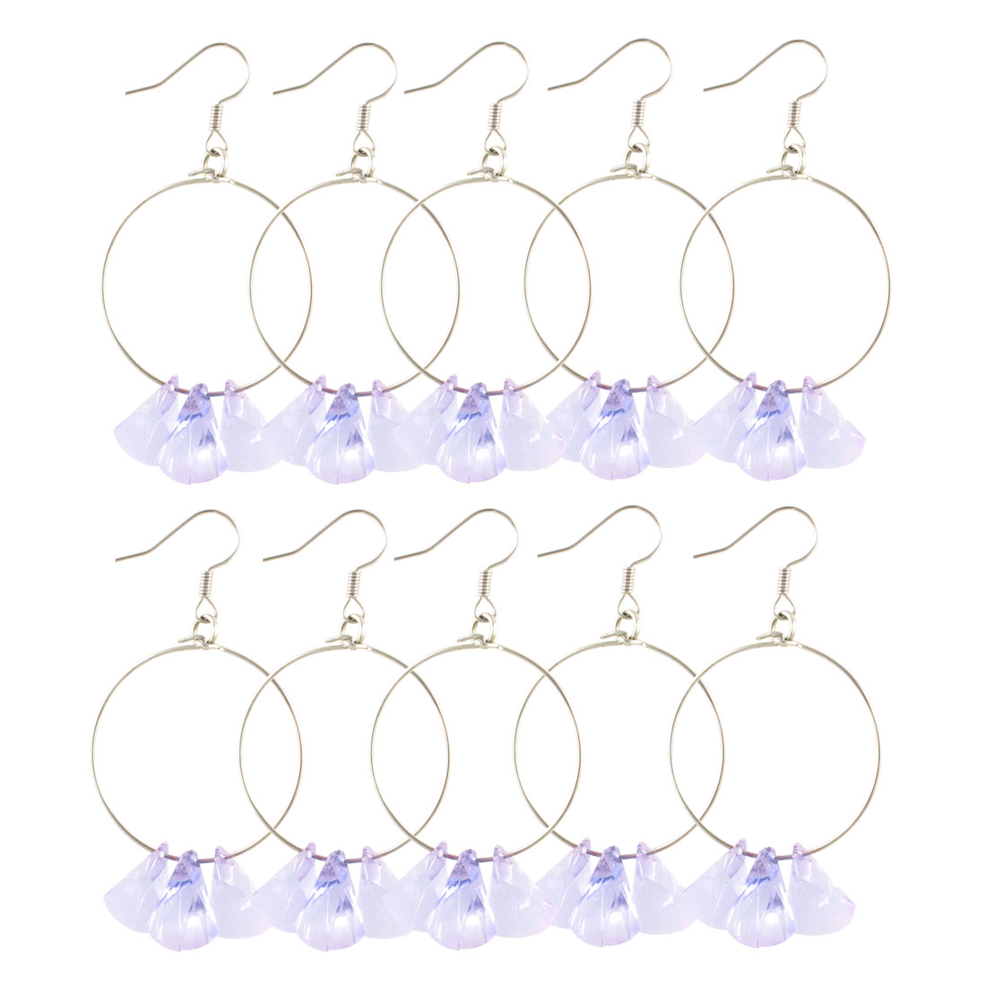 Women 5 Pairs Fish Hook Style Clear Purple Plastic Crystal Pendant Earrings
