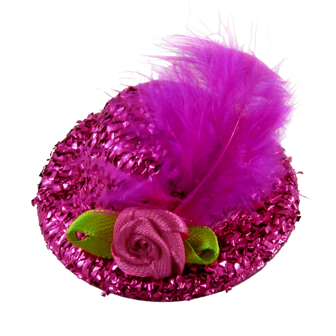 Faux Feather Decoration Fuchsia Glittery Mini Top Hat Hair Clip for Ladies