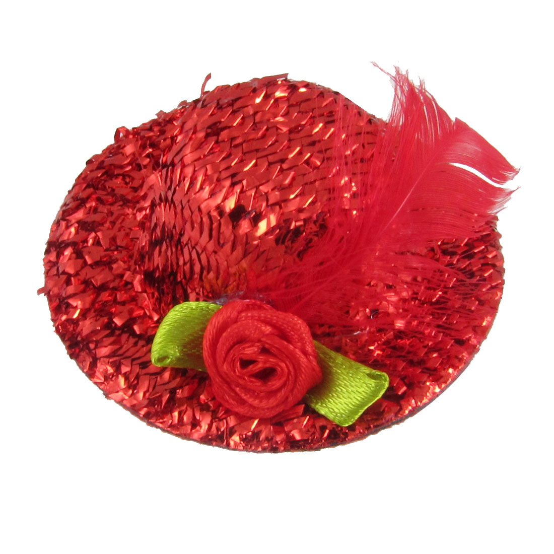 Red Green Flower Accent Glittery Flannel Mini Top Hat w Alligator Clip