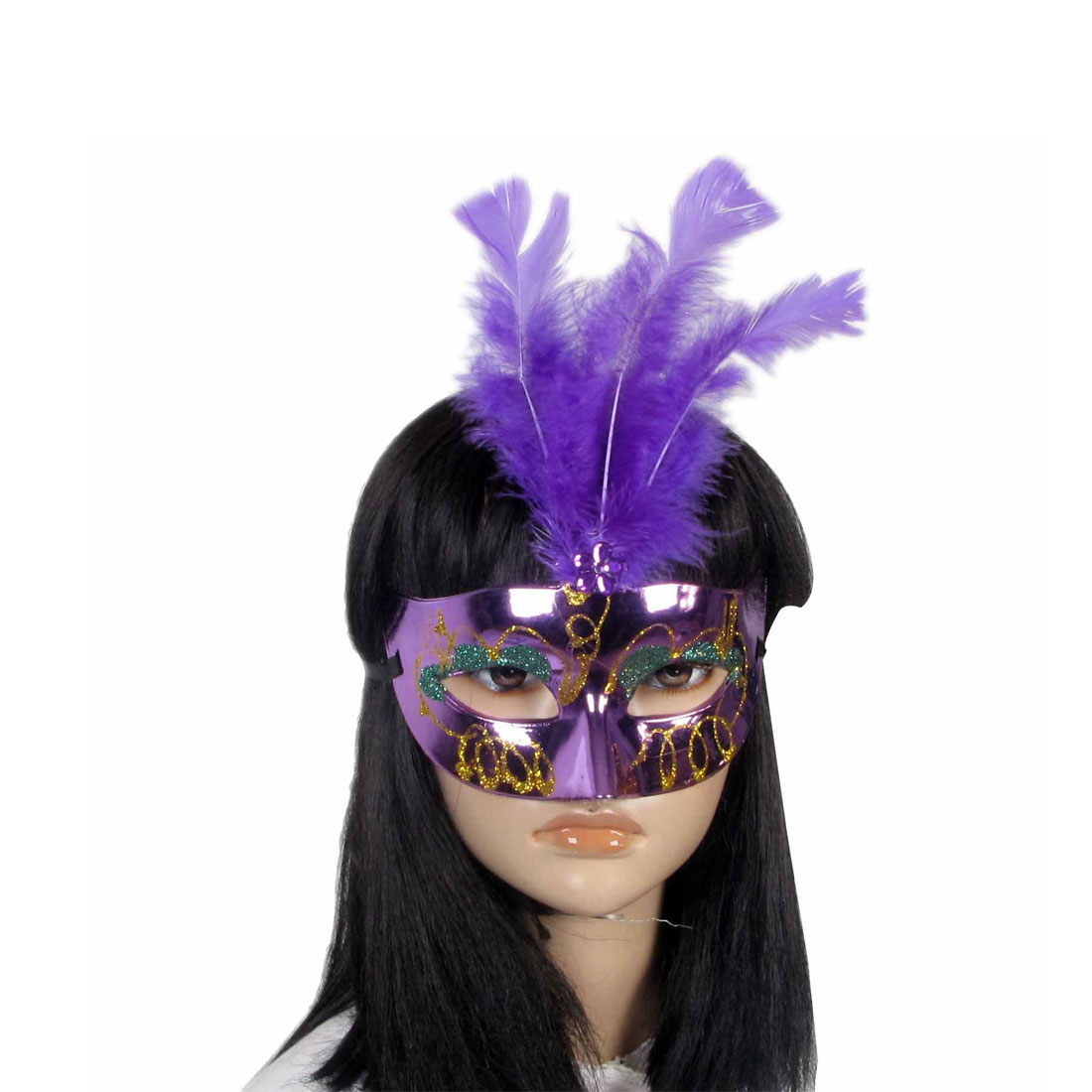 Women Gold Tone Green Powder Feather Decor Plastic Fancy Ball Eye Mask Purple