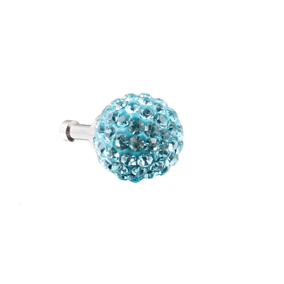 Bling Light Blue Crystal 3.5mm Anti Dust Ear Cap Plug Jack for Phone