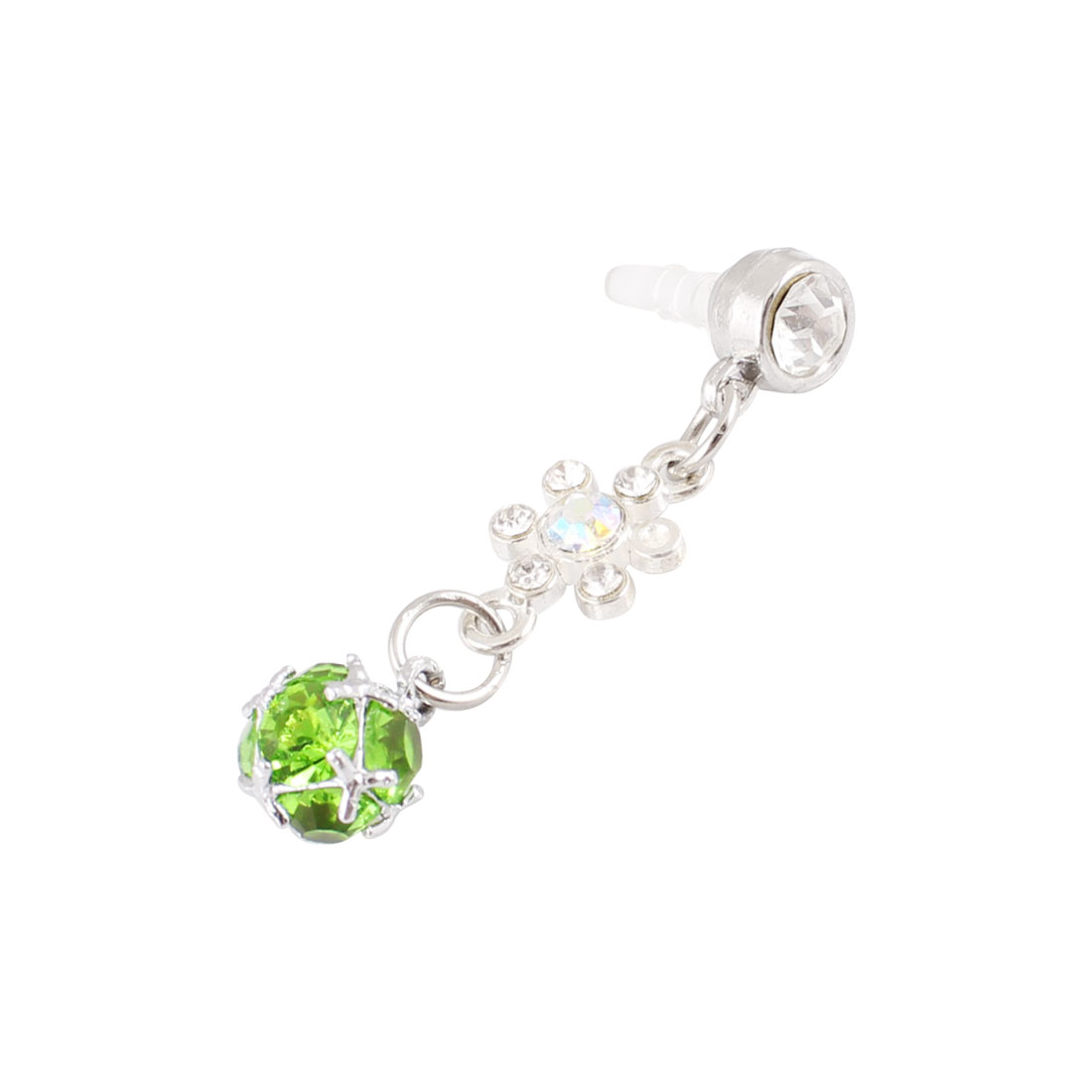 Green Rhinestone Ball 3.5mm Earphone Ear Cap Anti Dust Cover for Mobilephone