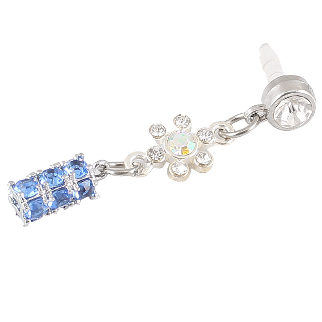 Dangle Blue Crystal 3.5mm Anti Dust Earphone Cap Stopper for Cell Phone