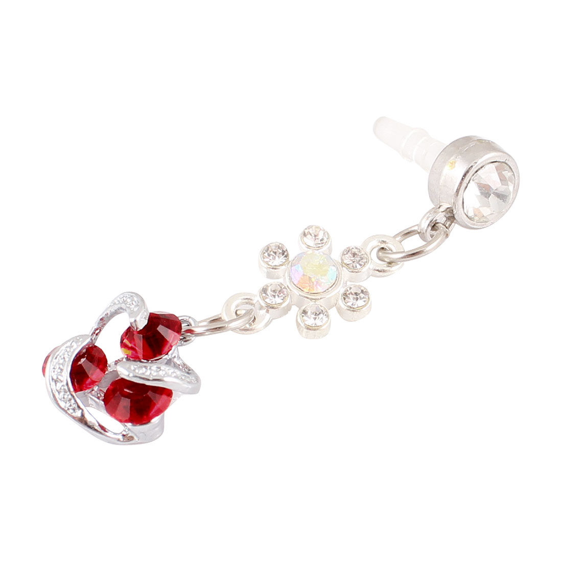 Red Flower Crystal 3.5mm Anti Dust Earphone Cap Stopper for Cell Phone