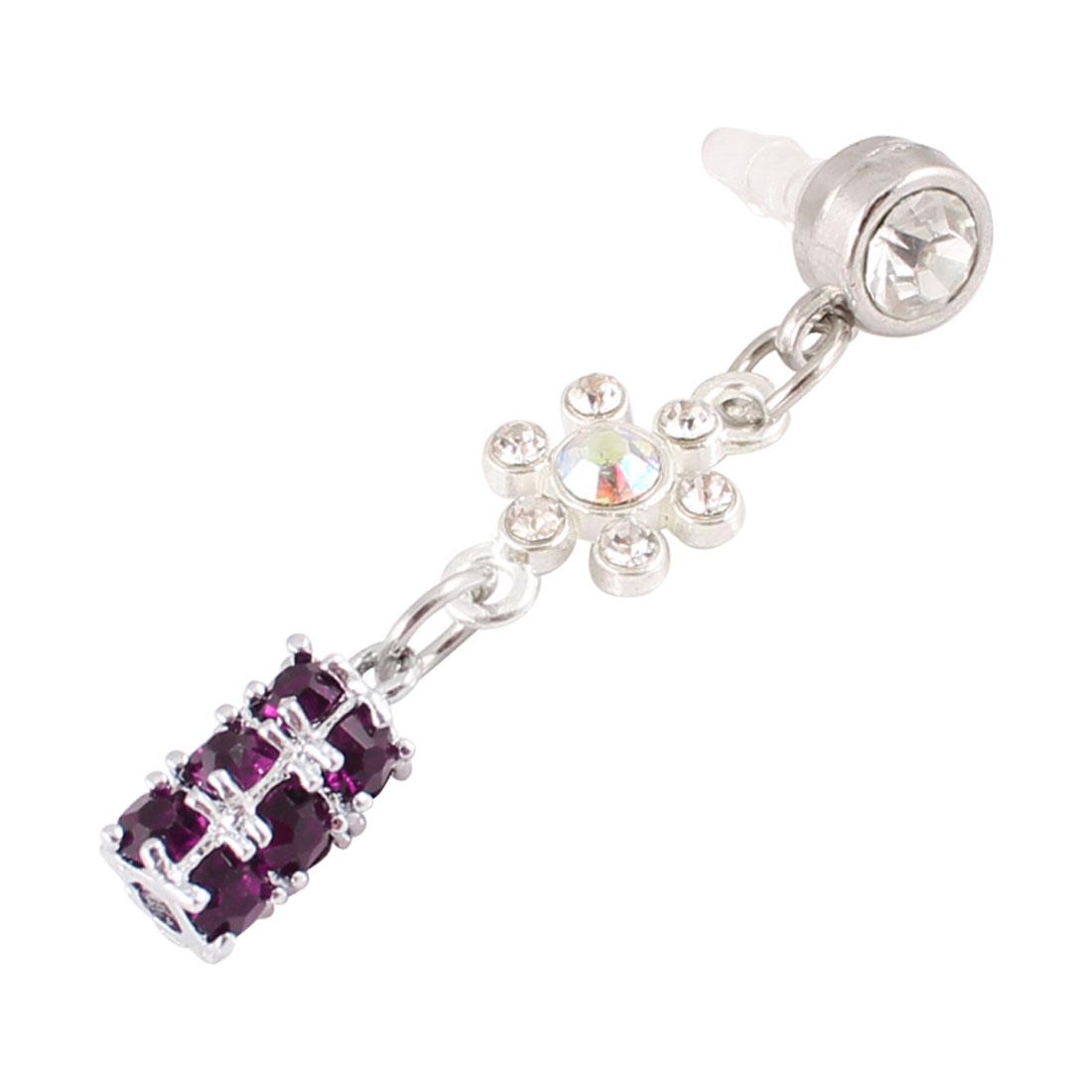 Dangle Purple Crystal 3.5mm Anti Dust Earphone Cap Stopper for Cell Phone
