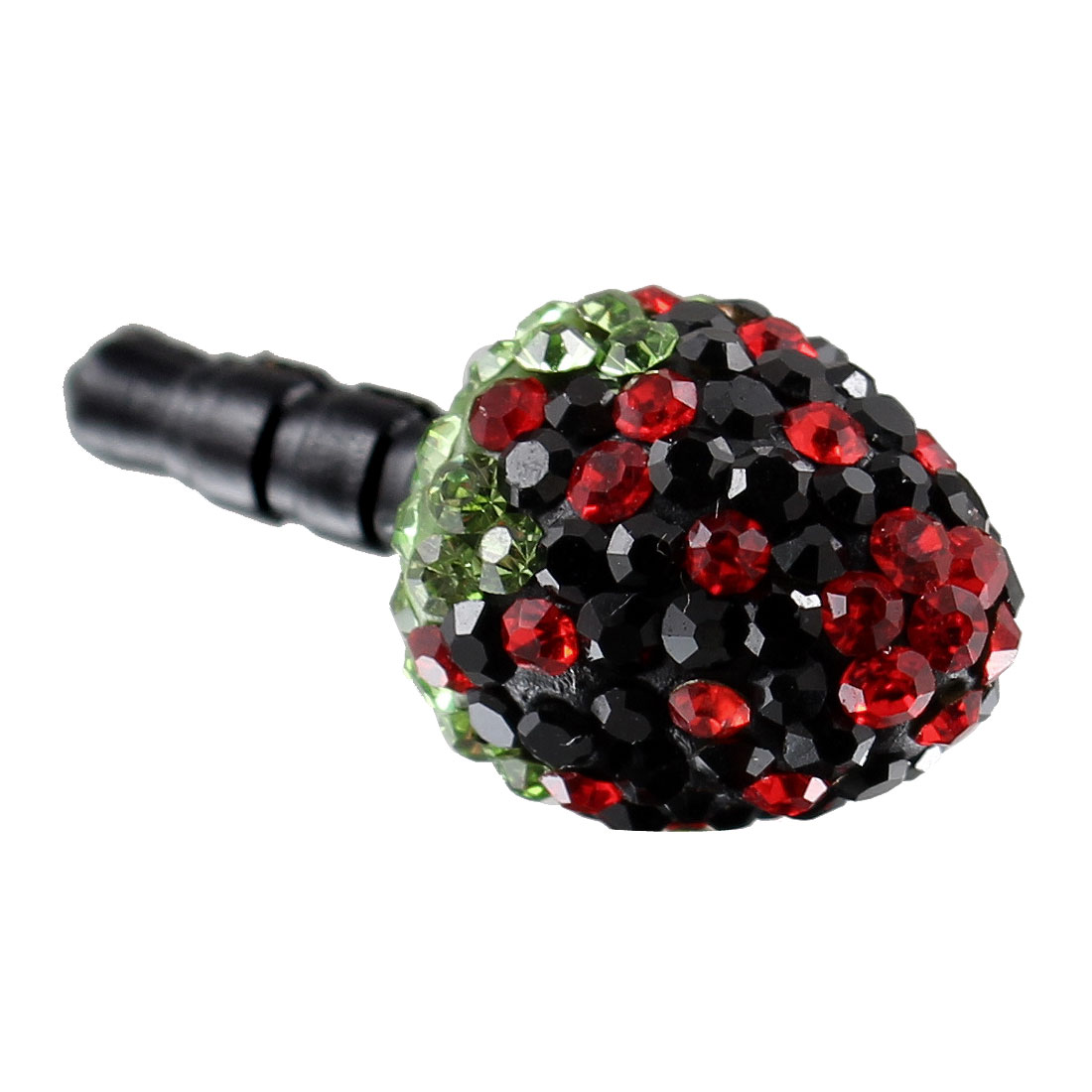 Bling Black Crystal Strawberry 3.5mm Anti Dust Ear Cap for Phone