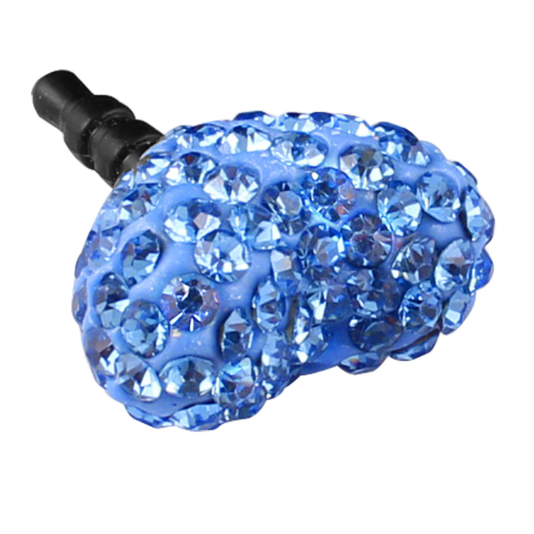 Bling Blue Faux Rhinestone Heart 3.5mm Ear Anti Dust Cap for Cell Phone
