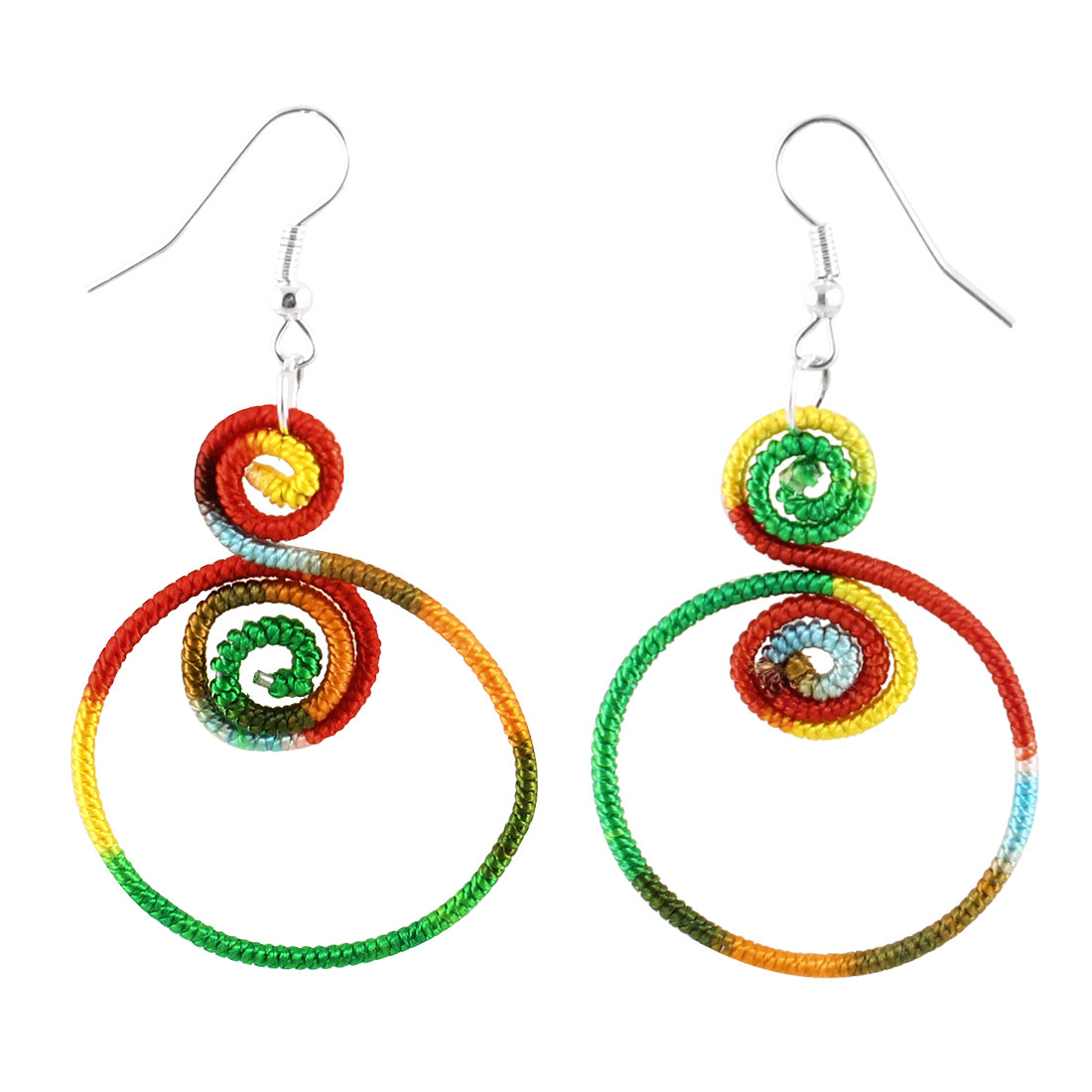 Pair Colors Nylon Double Spiral Pendant Fish Hook Style Earrings for Ladies