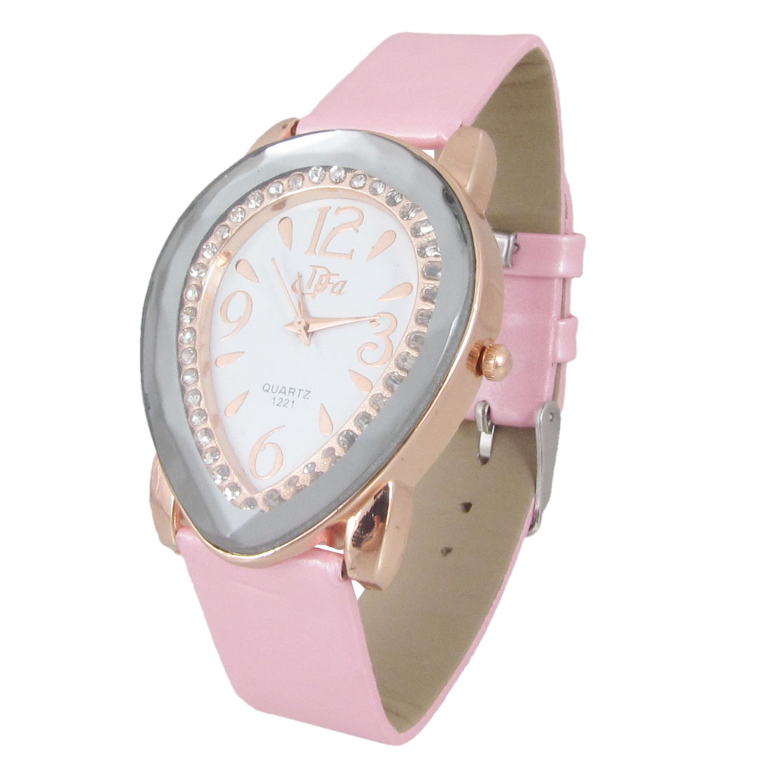 Women Pink Perforated Band Button Adjustable Heart Shape Dial Wristwatch