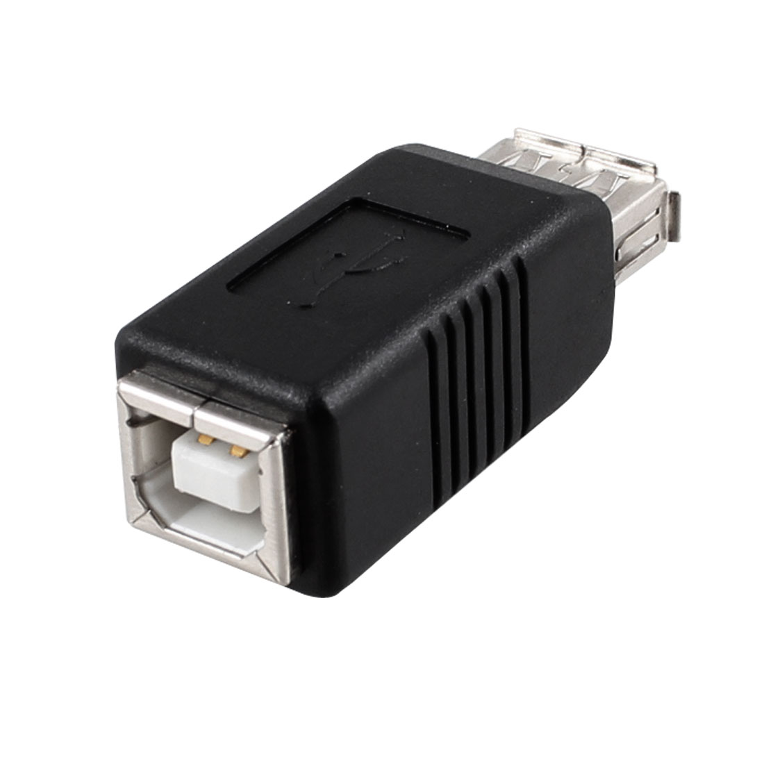 USB Adapter Printer Type A to Type B Female Connector Black Silver Tone