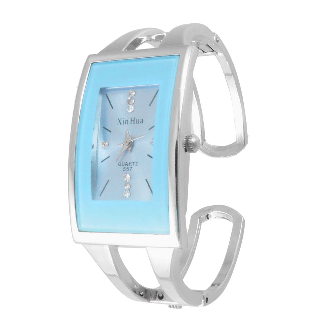 Sky Blue Rectangle Dial Silver Tone Alloy Band Bracelet Watch for Woman