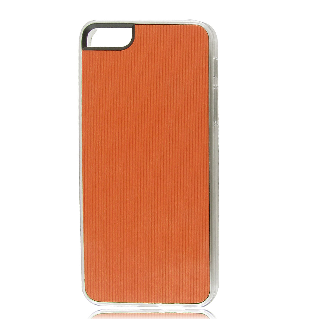 Orange Faux Leather Coated Pinstripe Hard Back Case Cover for iPhone 5 5G 5th