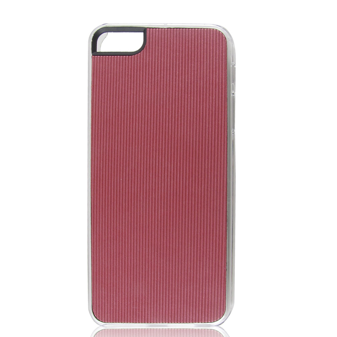 Burgundy Faux Leather Coated Pinstripe Hard Back Case Cover for iPhone 5 5G 5th