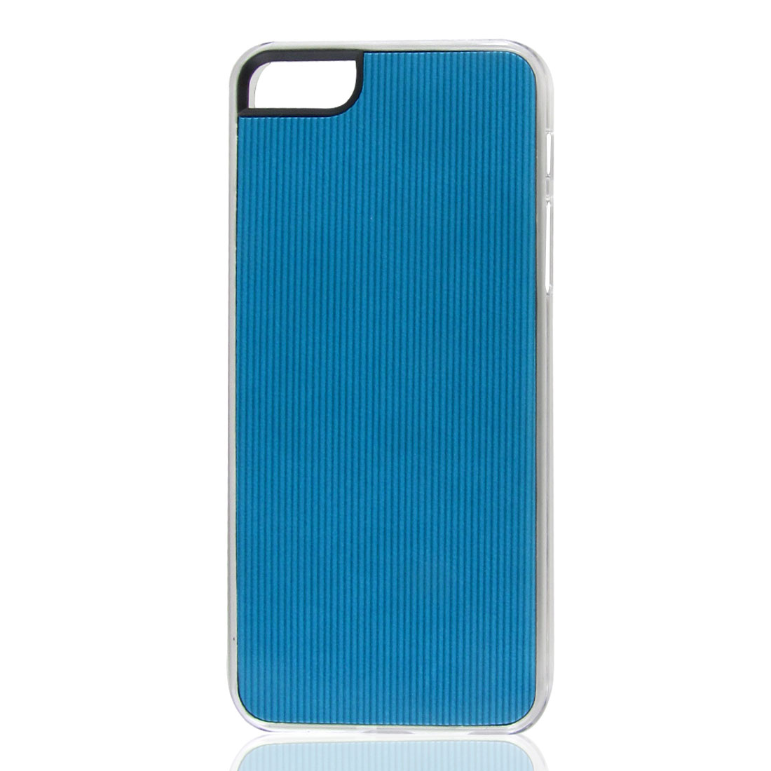 Teal Blue Faux Leather Coated Pinstripe Hard Back Case Cover for iPhone 5 5G 5th