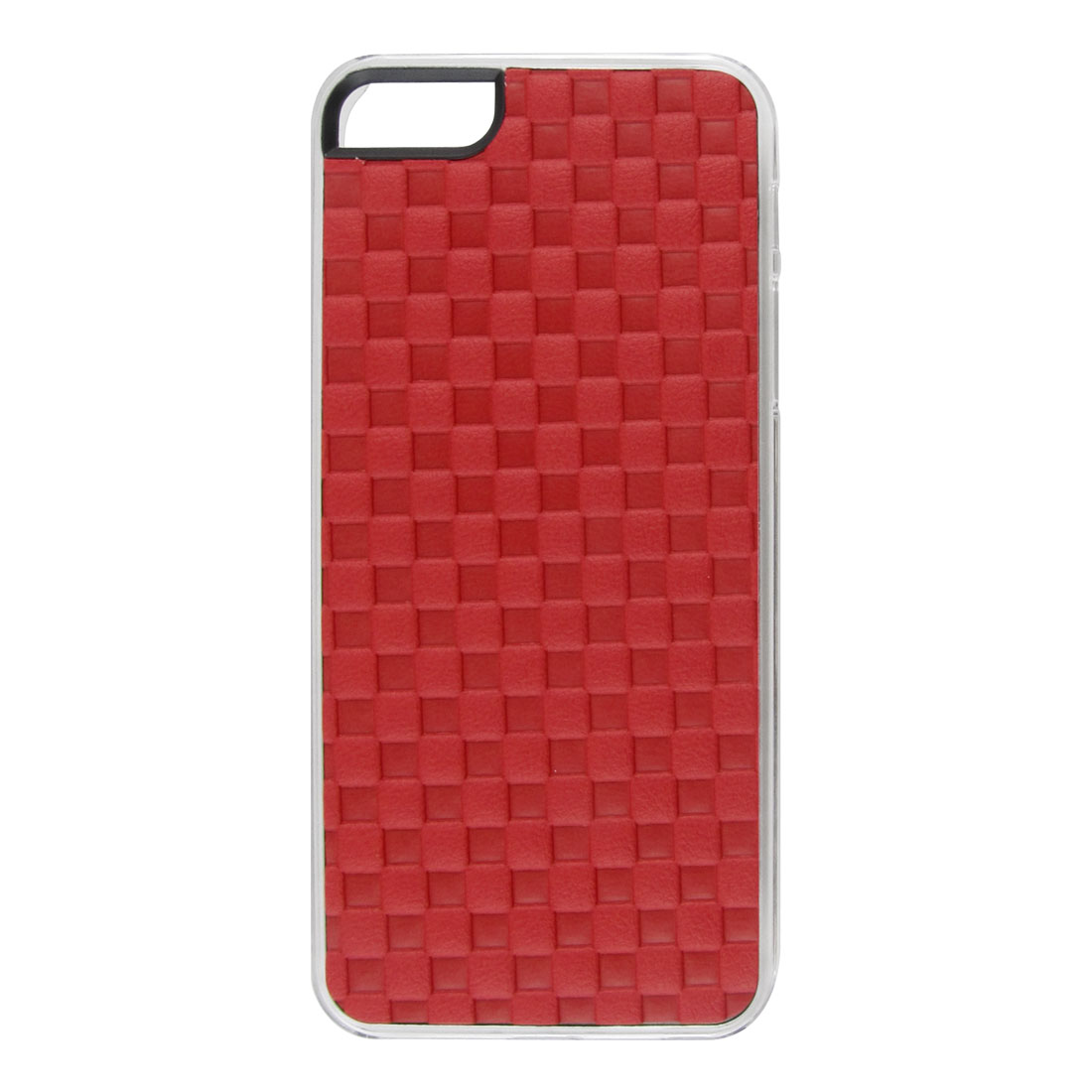 Red Faux Leather Coated Check Hard Back Case Cover for Apple iPhone 5 5G 5th