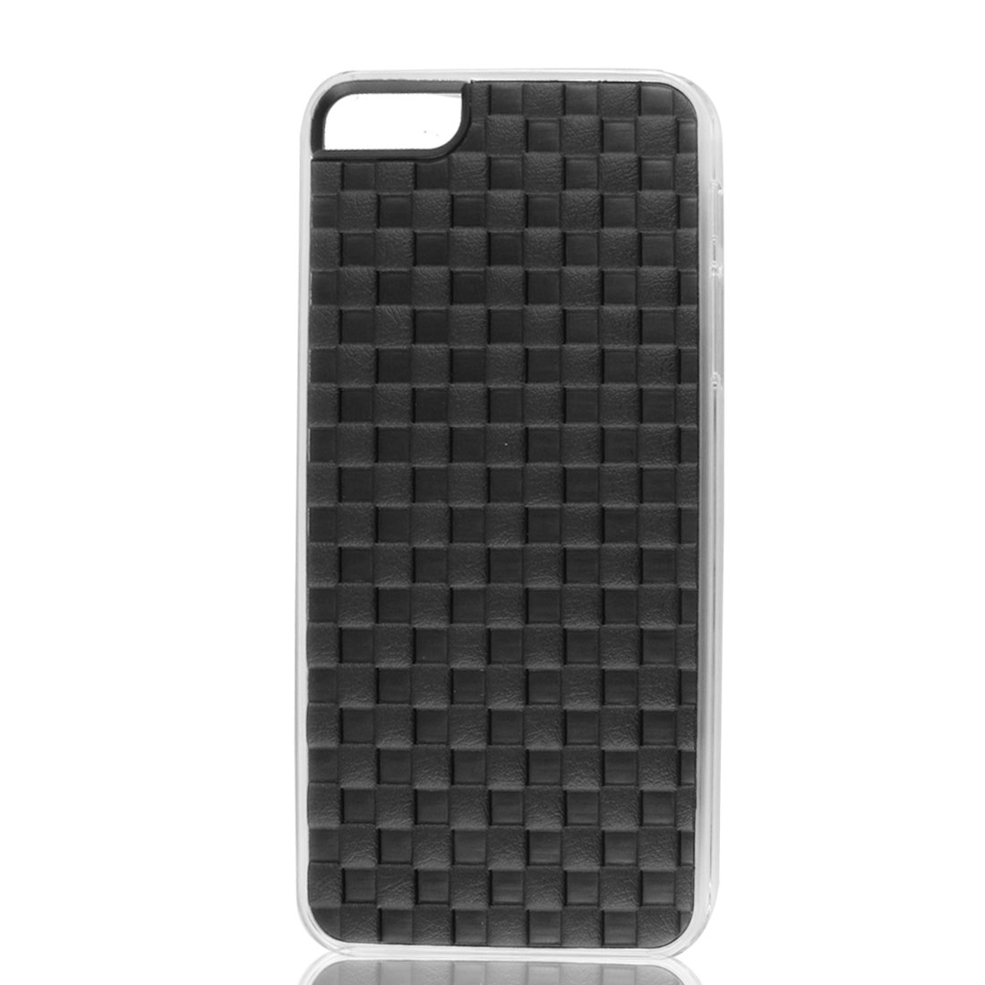 Black Faux Leather Coated Check Hard Back Case Cover for Apple iPhone 5 5G 5th
