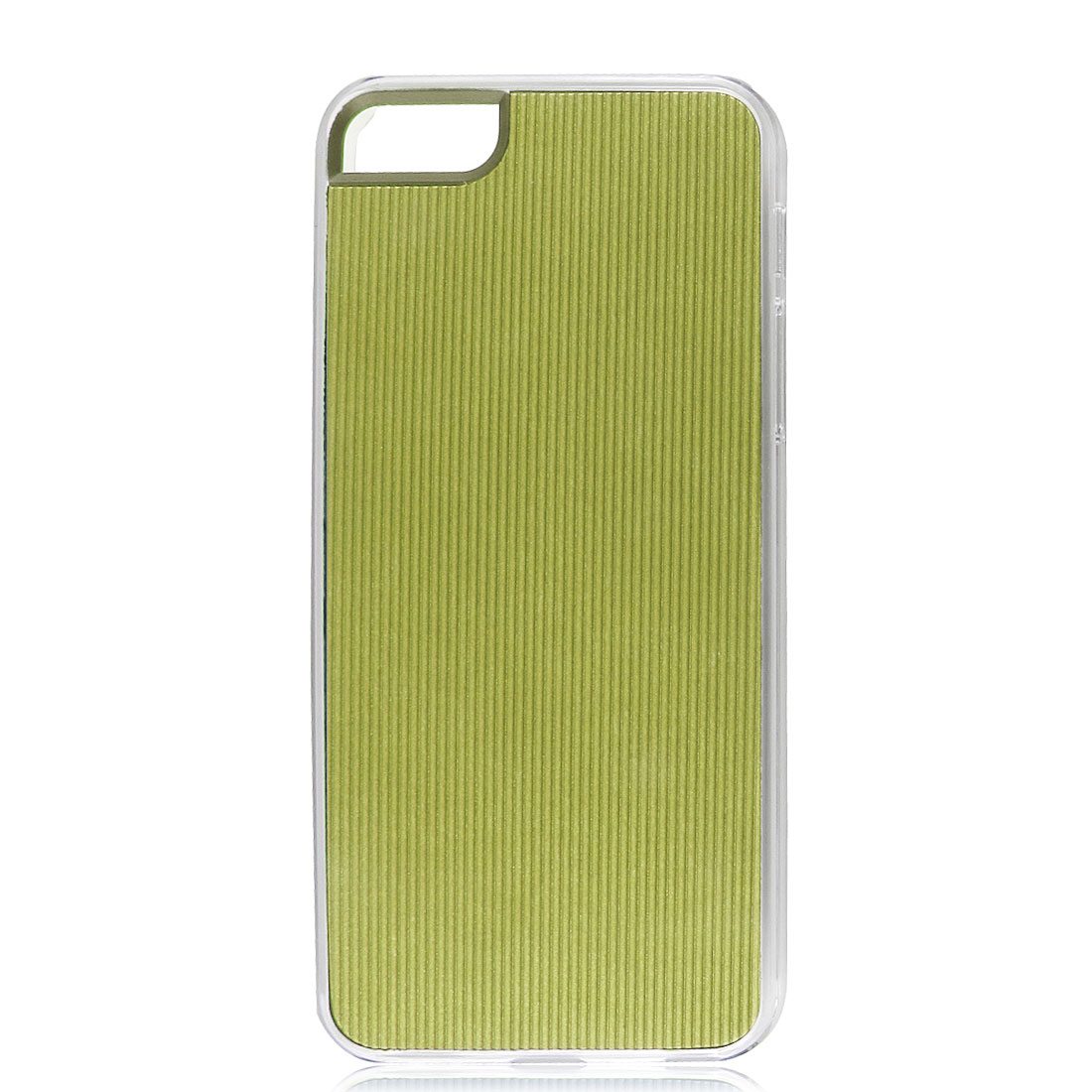 Yellow Green Faux Leather Coated Pinstripe Hard Back Case Cover for iPhone 5 5G