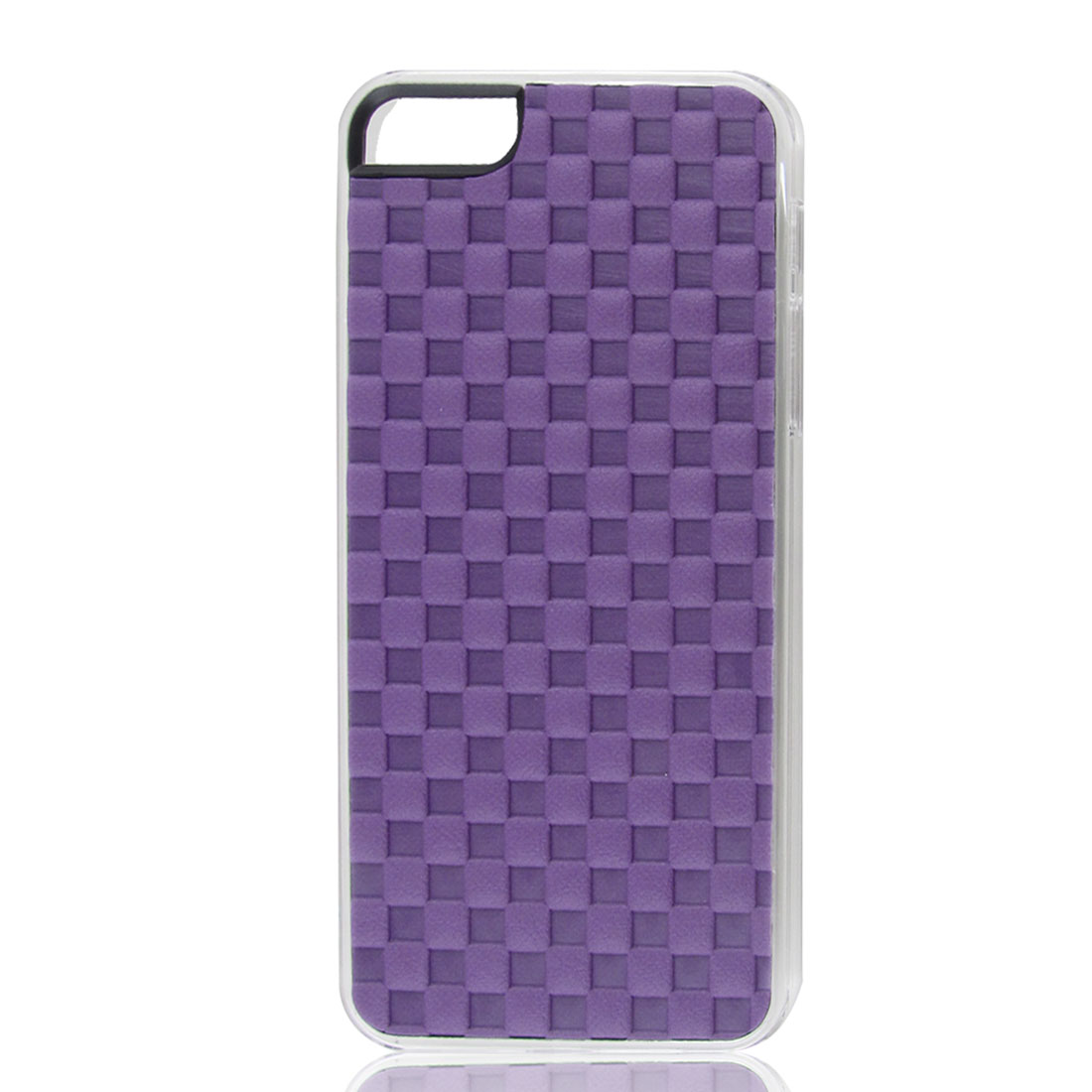 Purple Faux Leather Coated Check Hard Back Case Cover for Apple iPhone 5 5G 5th