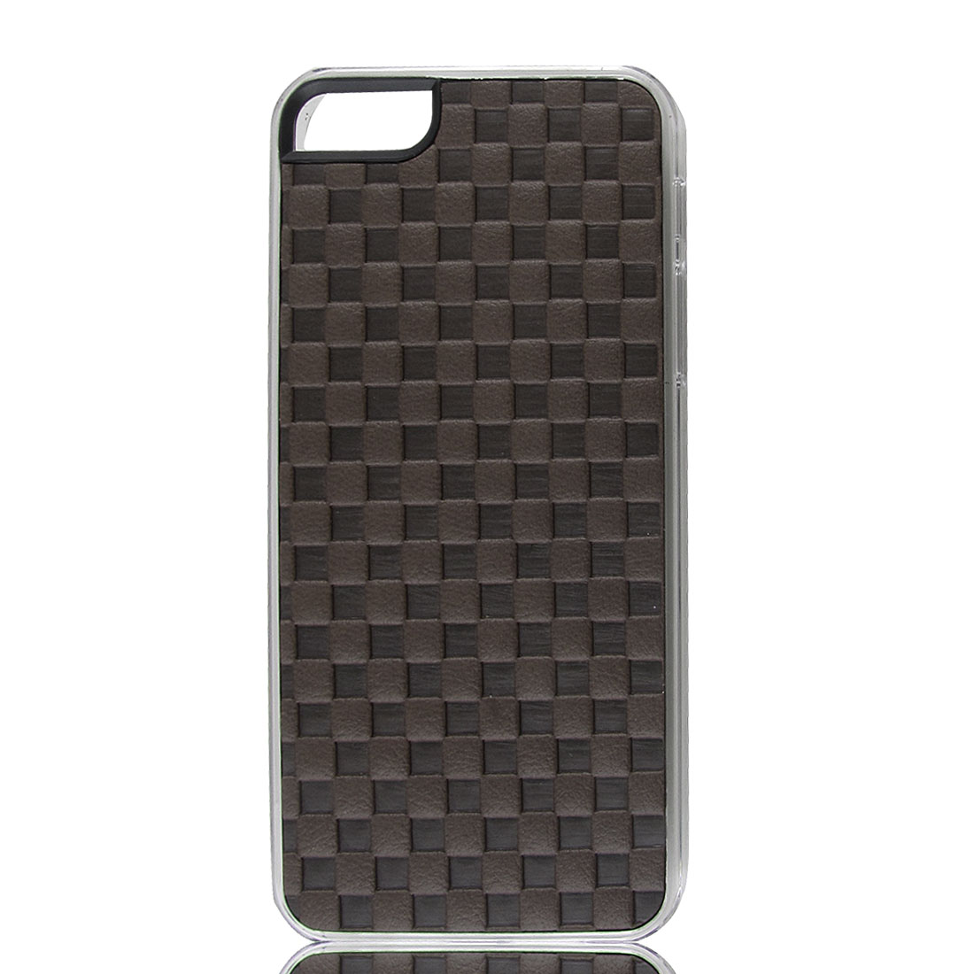 Coffee Color Faux Leather Coated Check Hard Back Case Cover for Apple iPhone 5 5G 5th