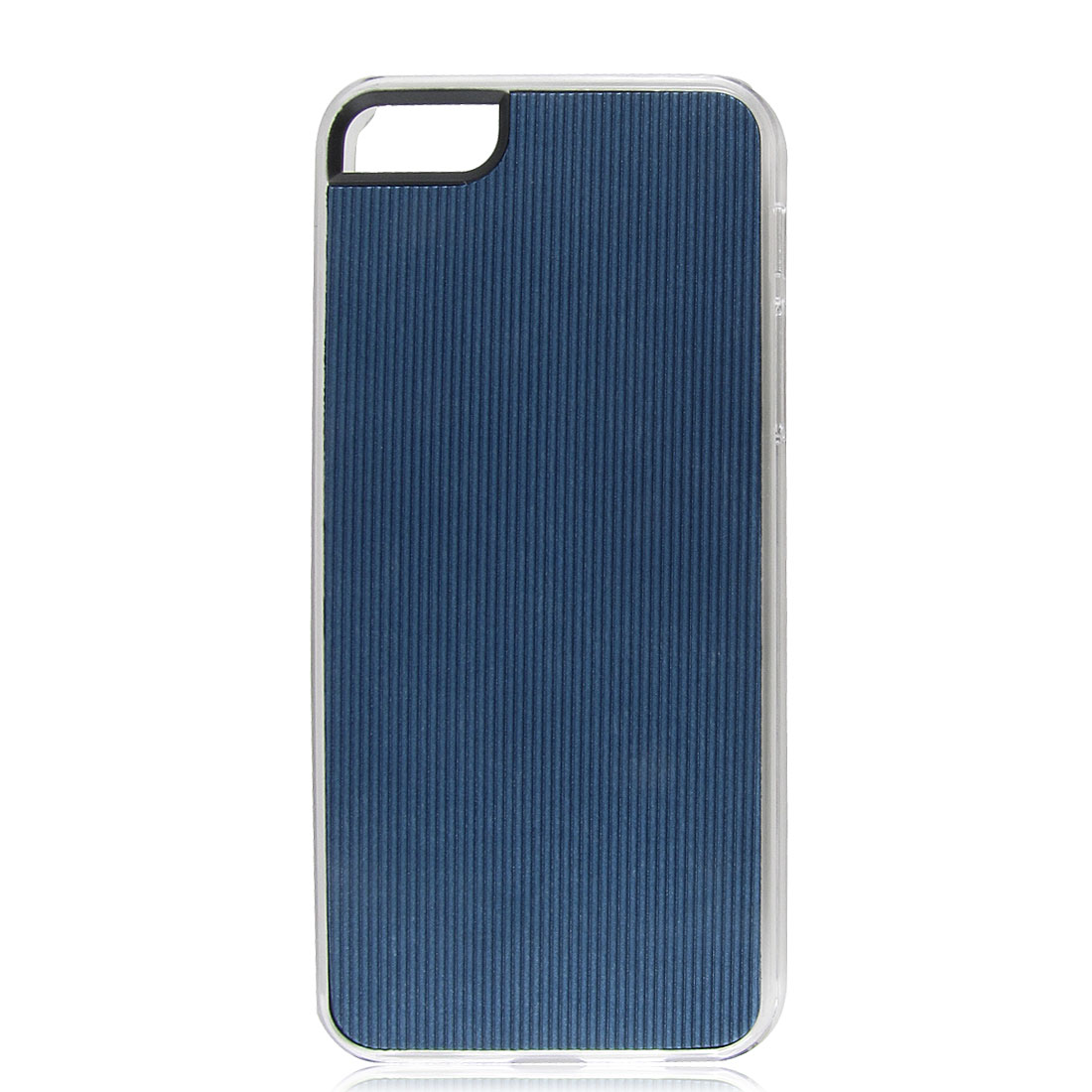 Dark Blue Faux Leather Coated Pinstripe Hard Back Case Cover for iPhone 5 5G 5th