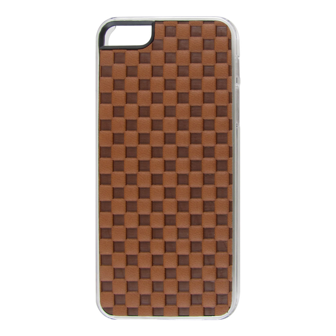 Brown Faux Leather Coated Check Hard Back Case Cover for Apple iPhone 5 5G 5th