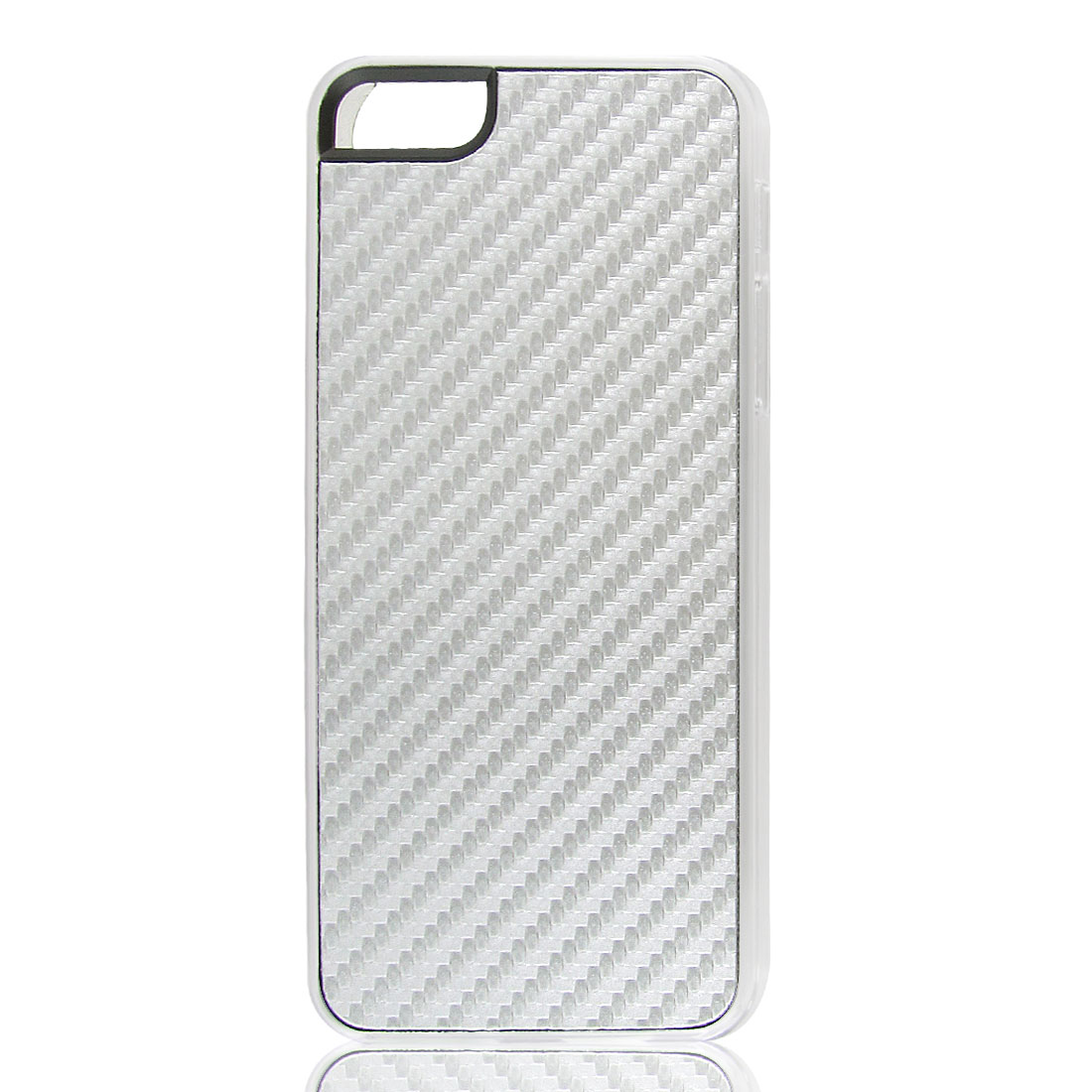 Silver Gray Woven Faux Leather Coated Hard Back Case Cover for Apple iPhone 5 5G
