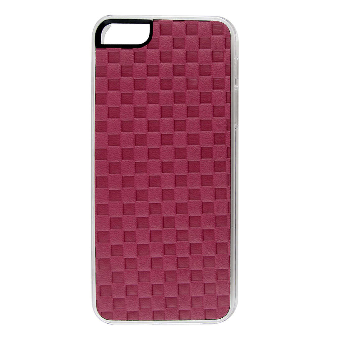 Fuchsia Faux Leather Coated Check Hard Back Case Cover for Apple iPhone 5 5G 5th